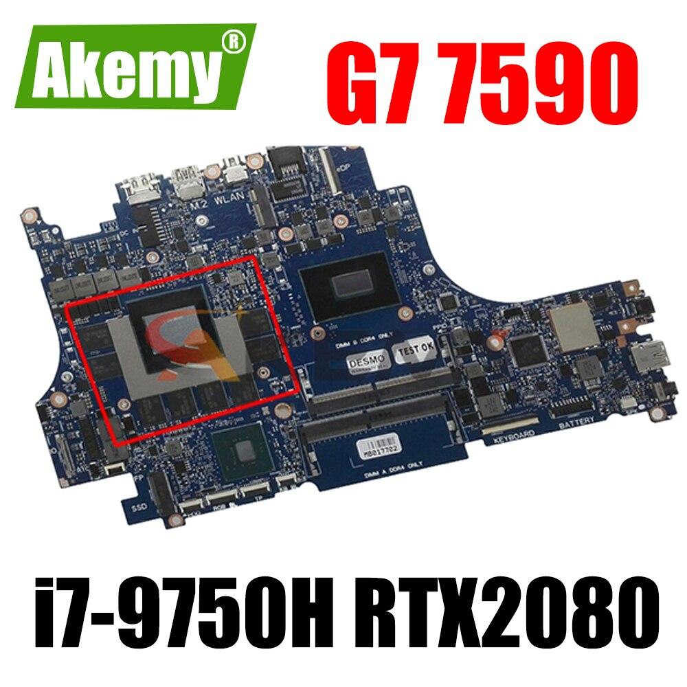 لديل G7 7590 اللوحة المحمول SRF6U i7-9750H CPU RTX2080 مع CN-0WJH3G 0WJH3G WJH3G VULCAN15 100% العمل جيدا