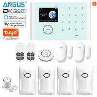 ANGUS     systeme dalarme de securite domestique Tuya  wi-fi  GSM  433Mhz  anti-cambriolage  sans fil  Compatible avec Alexa  detecteur  application de controle