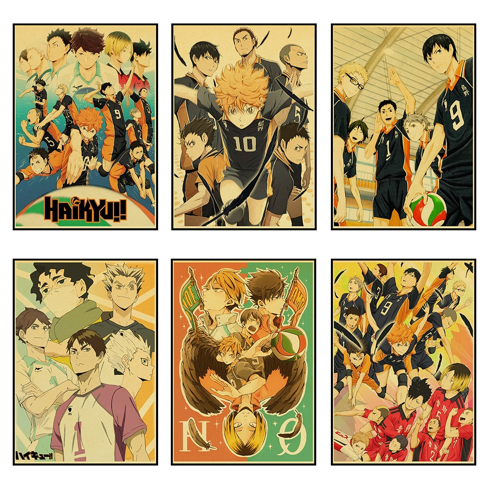 Clásico Vintage japonés Anime Haikyuu Retro Poster Kraft papel alta calidad Sala Arte impresión pegatinas de pared para el hogar/Bar Café