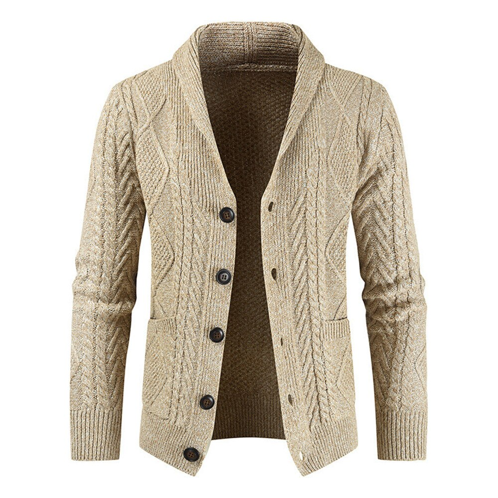 New Men'S Knitted Cardigans Winter Lapel Long Sleeves Sweater 4 Colors Single Breasted Casual Sweater With Pockets