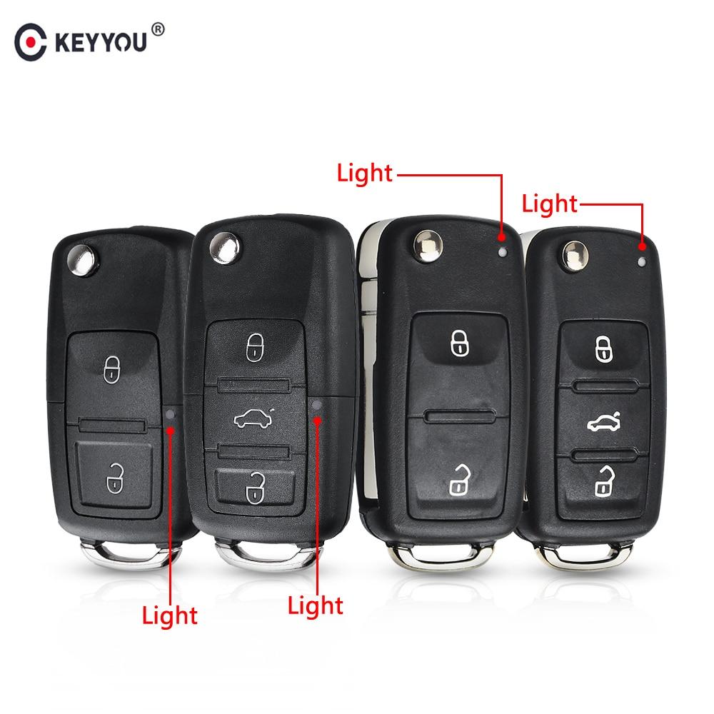 KEYYOU 20 قطعة 3 أزرار للطي مفتاح السيارة مفاتيح المفاتيح مفتاح الوجه قذيفة ل VW بولو باسات b5 تيجوان جولف فولكسفاغن سيات سكودا