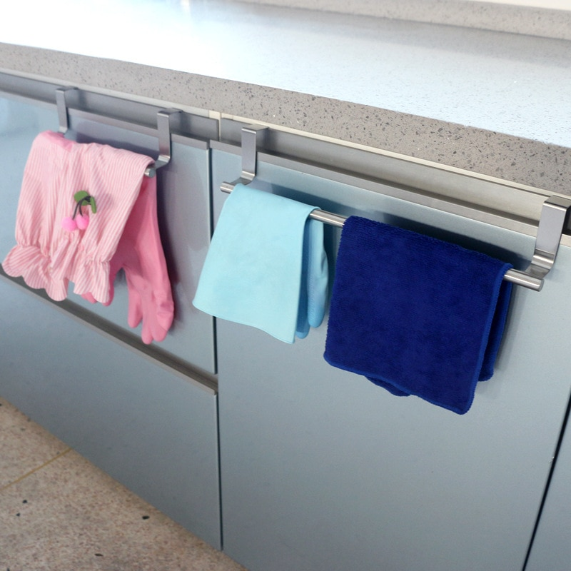 Toalheiro1pc soporte de toalla de baño de acero inoxidable percha de armario de cocina Puerta de armario cofre colgante estante de almacenamiento diversos