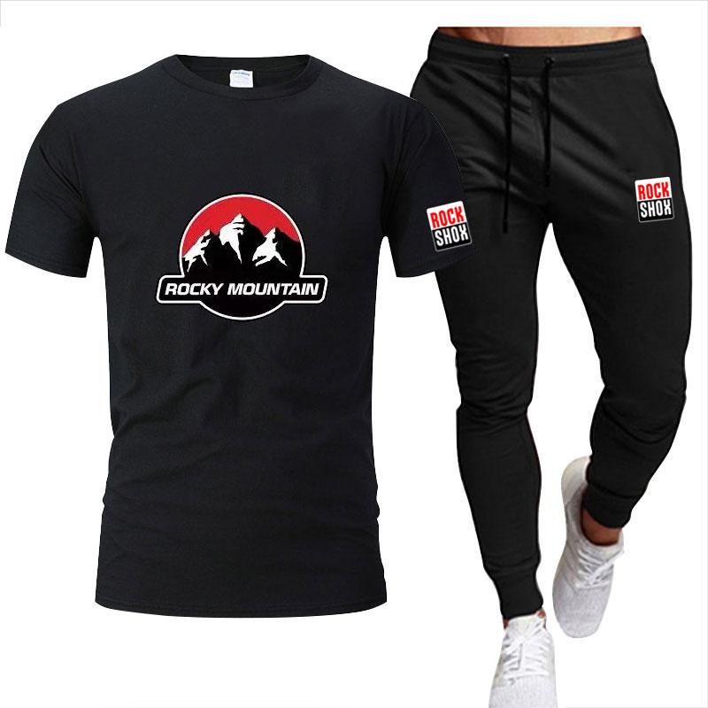 Лето 2021, спортивный костюм, мужская спортивная одежда, модная футболка оверсайз + брюки, комплект из 2 предметов, фирменная мужская одежда, Св...
