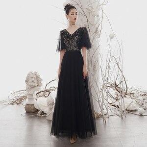 Evening Dresses Black Half Sleeves V-neck Plus size A-line Floor-length Simple Sequins Elegant New Woman Formal Party Dress A234
