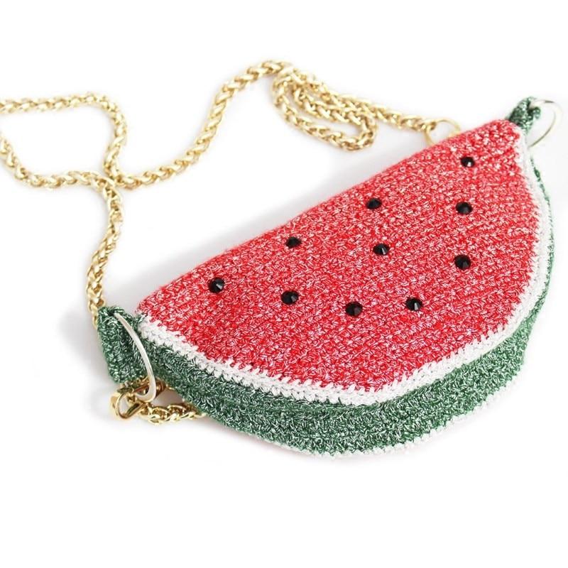 bag pitti bag Hand Crocheted wool bag, children's fruit bag, watermelon bag, snack bag, straddle bag, key bag, wool woven exquisite bag