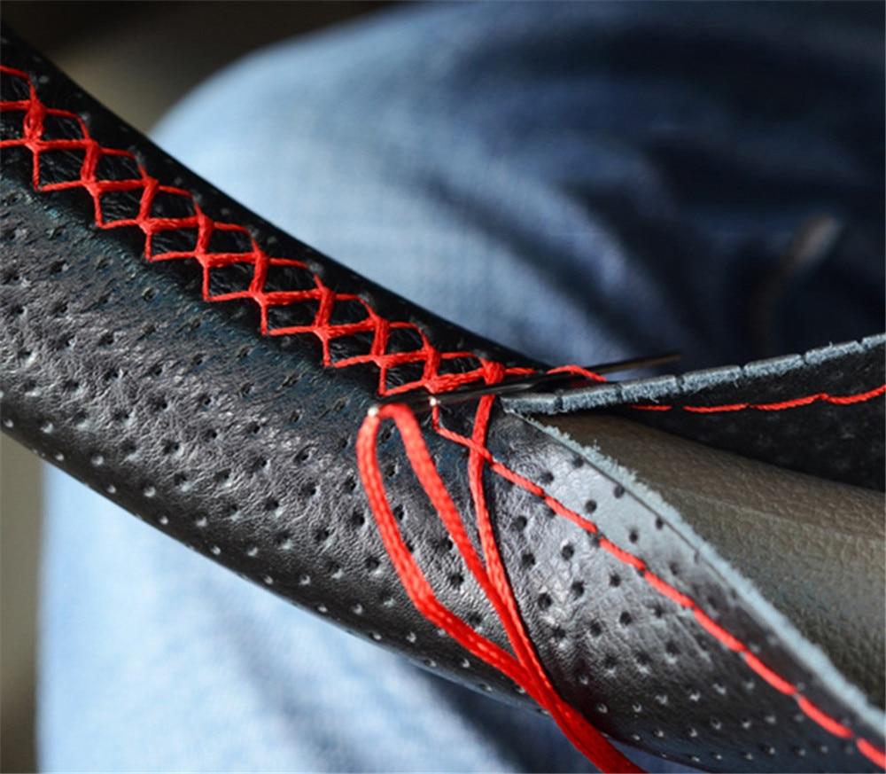 Braid On leather Steering Wheel Cover for Volkswagen vw passat b5 b6 b7 polo golf 6 7 Sharan Tiguan
