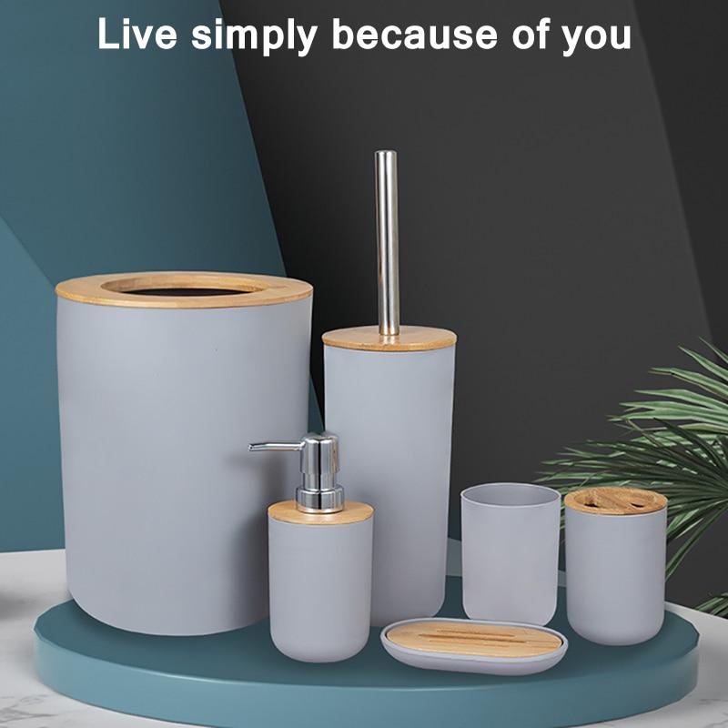 6Pcs Black Bathroom Accessories Toothbrush Holder Bin Soap Dish Dispenser Tumbler Toilet Brush Toilet Bathroom Set Grey White enlarge