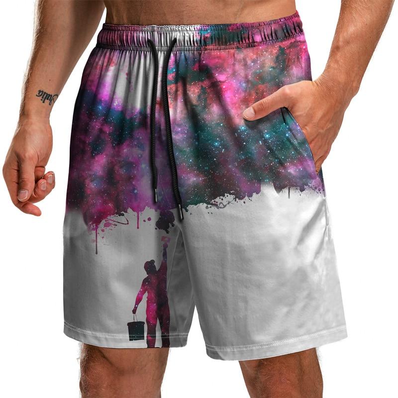 Новинка 2021, лидер продаж, цифровые половинчатые мужские повседневные спортивные пляжные шорты с принтом звездного неба для плавания, весна ...