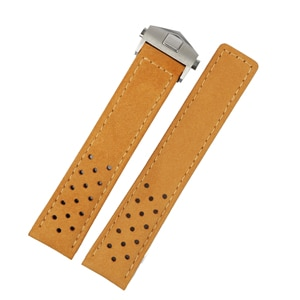 Rolamy 20 22mm Light Brown Real Calf Leather Suede VINTAGE Replacement Wrist Leather Watch Band Strap With Clasp For Tag Heuer