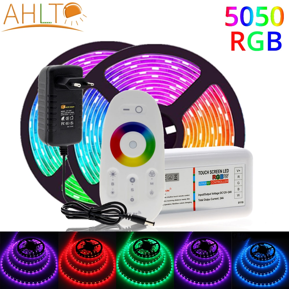 5M SMD 5050 RGB DC 12V Neon LED Strip Swaterproof Light With Variable 2.4G Color Remote Control 3A Power Adapter Home Decoration
