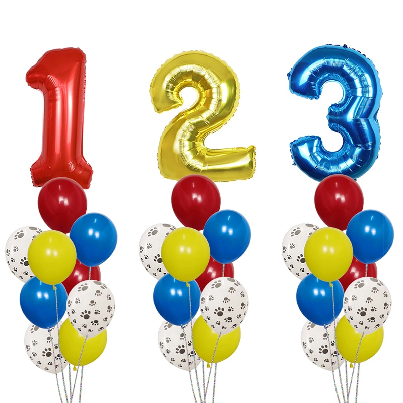 10Pcs/Set Dog Paws Theme Number Foil Balloons Latex Balloons Kids Birthday Baby Shower Party Toy Dec