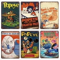 Popeye     Plaque metallique de dessin anime  signe en etain  affiche Vintage de bande dessinee homme grotte douce maison  assiettes decoratives murales retro  decoration de chambre de bebe