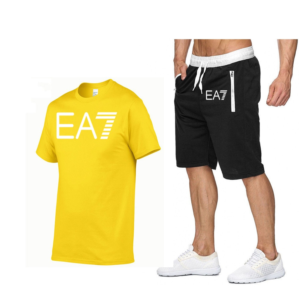 Mens casual printed short-sleeved cotton T-shirt + sports pants two-piece quick-drying breathable running suit summer 2021