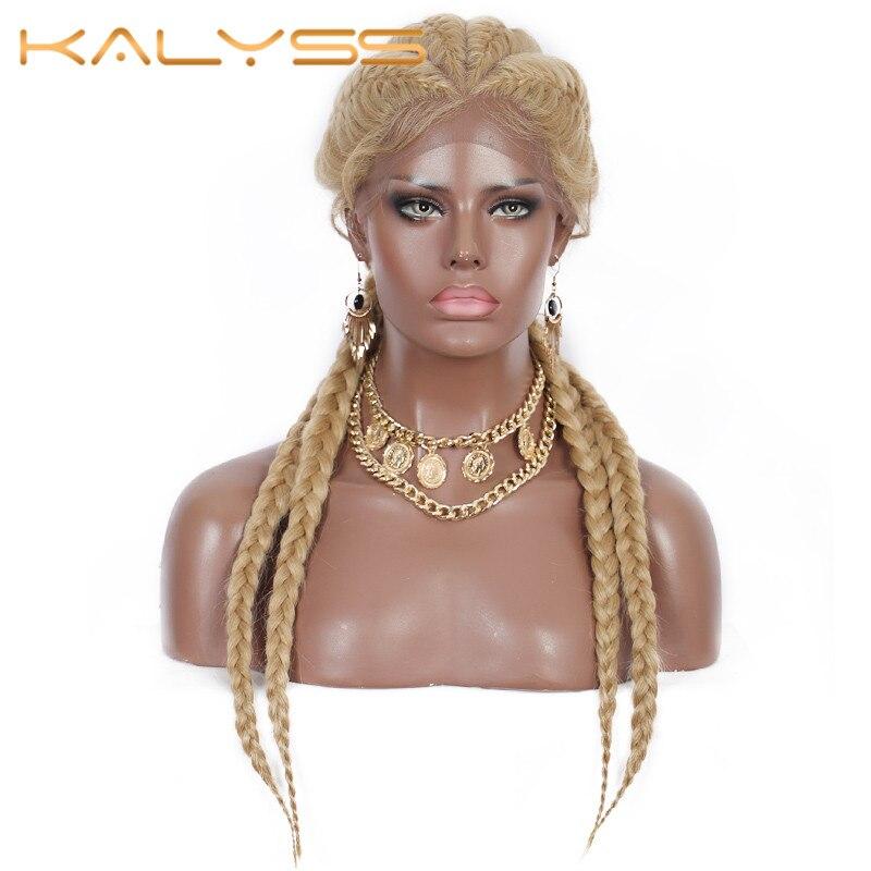 Kalyss 26 дюймов плетеные парики корнулы для черных женщин синтетический парик фронта шнурка 613 4 конские хвосты ручные плетеные парики с детски...