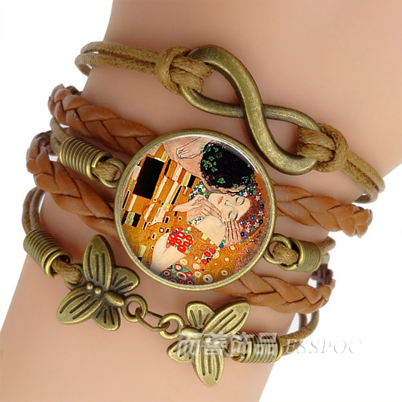 Gustav Klimt The Kiss Bracelet Handmade Infinity Leather Charm Bracelets Art Jewelry Valentine Gift