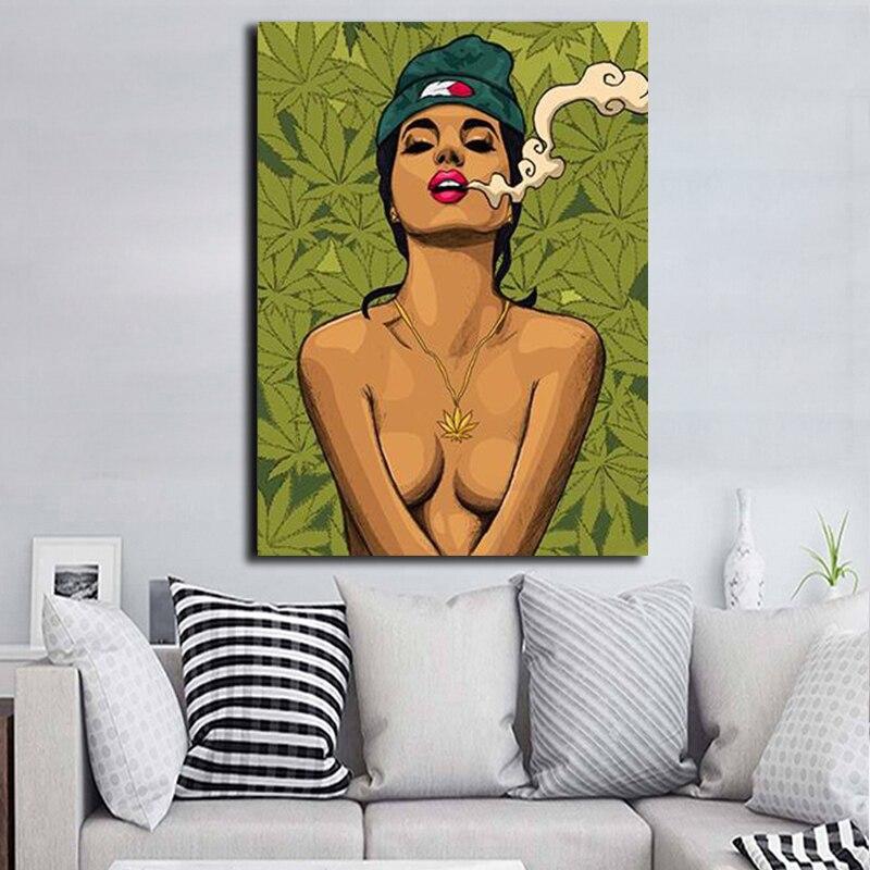 Póster e impresiones de Arte de la pared Decoración con imagen de hierba para fumar chica de dibujos animados, Cuadros obras de arte, decoración del hogar para póster para el salón