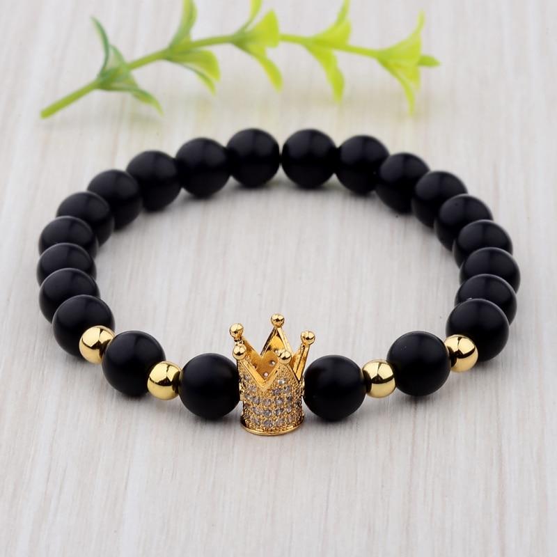 Brazalete de corona de circonia cúbica para hombre, hecho a mano, color negro mate, envío directo