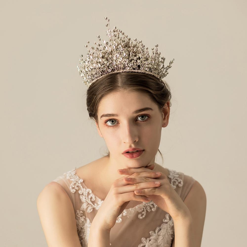 O571 Heavy work luxury handmade beads rhinestone custom princess large pageant crown wedding bridal jewelry tiara