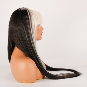 DLME Synthetic Long Straight Mixed White Black Wig Heat Resistant Fiber White Black Layered Synthetic Cosplay Wig Lolita Anime