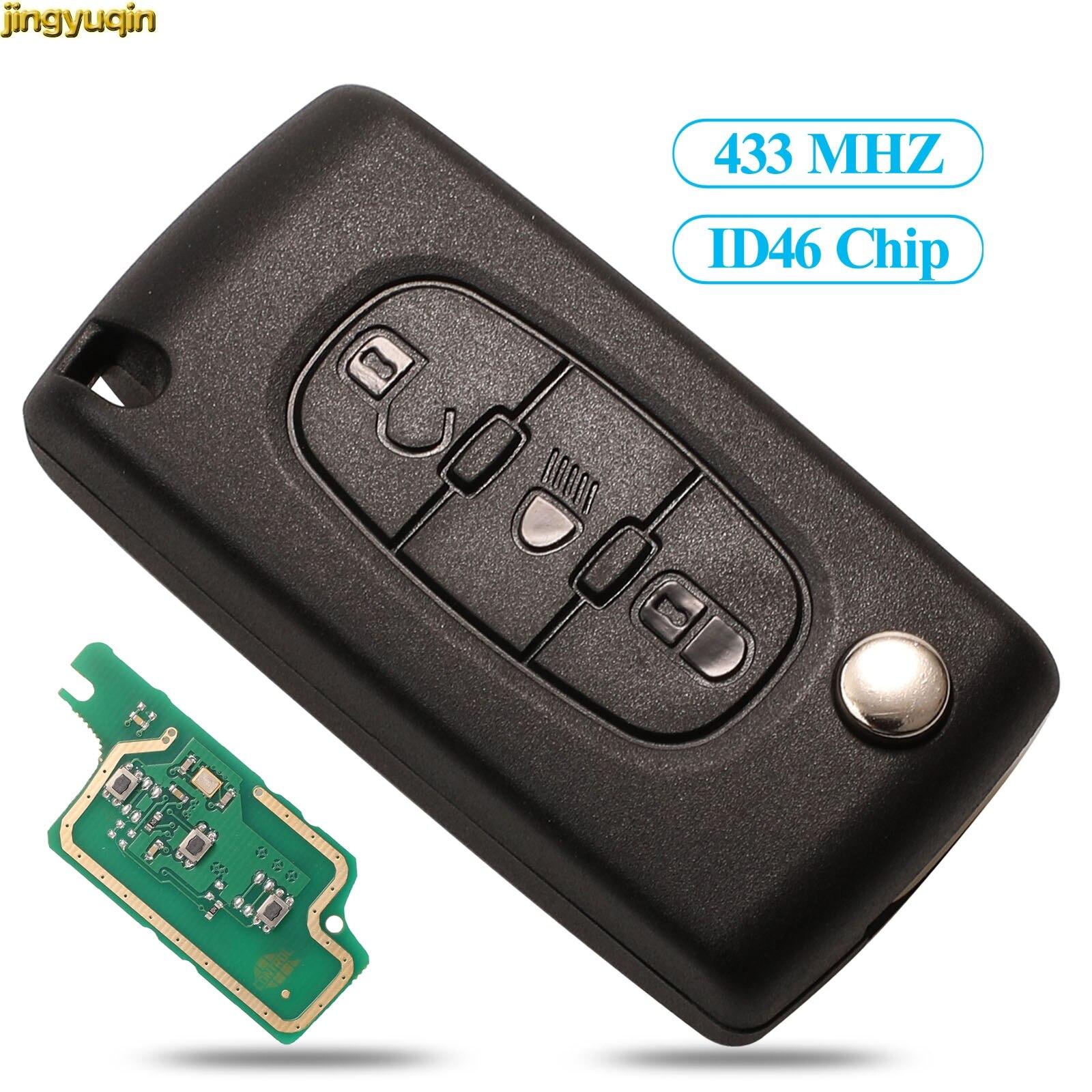 Mando a distancia Jingyuqin para llave de coche ASK/FSK 433MHZ ID46 para Peugeot 407 307 308 607 3 botones luz VA2/HCA Blade CE0523 CE0536