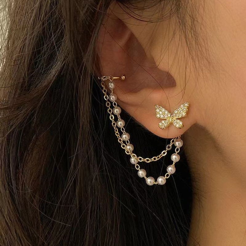 Lovely Butterfly Chain Tassel Earrings All-in-one Butterfly Ear Clip Earrings for Women Wedding Part