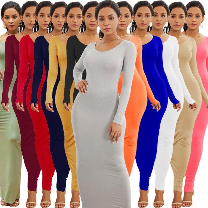 KALENMOS vestido de vendaje Sexy para mujer, cuello redondo, manga larga, elástico, ajustado, para fiesta, primavera Otoño, Bodycon, Vestidos de ocio de trabajo