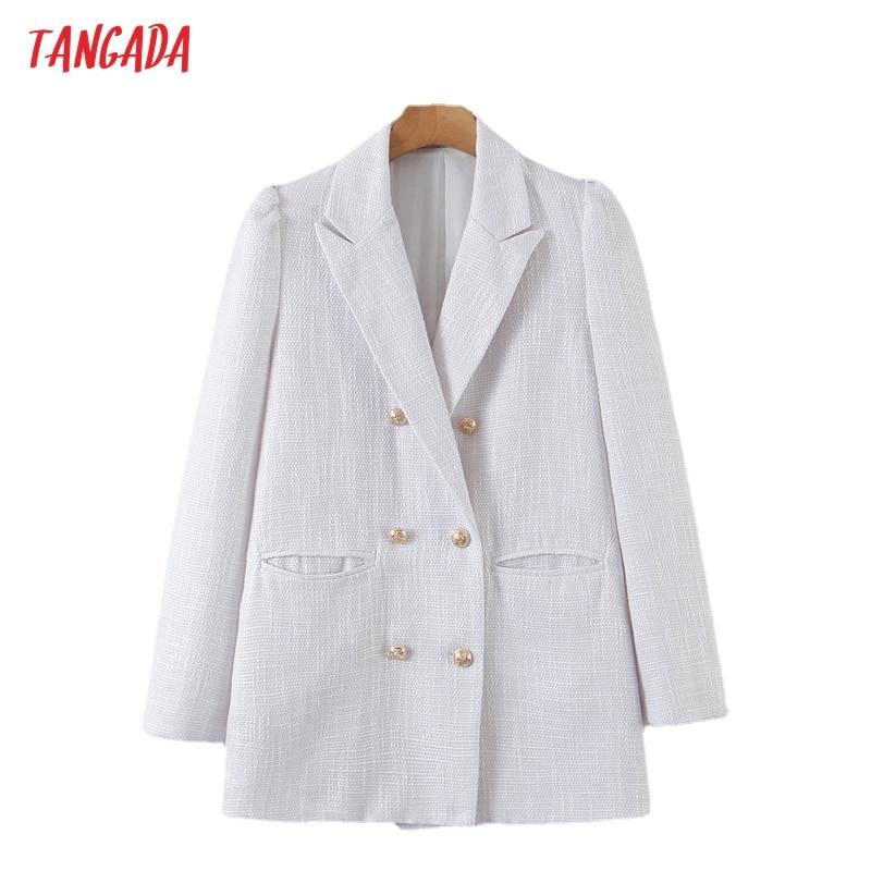 تانغدا المرأة خمر الأبيض تويد السترة الإناث طويلة الأكمام سترة أنيقة السيدات العمل ارتداء السترة بزات رسمية 8H151