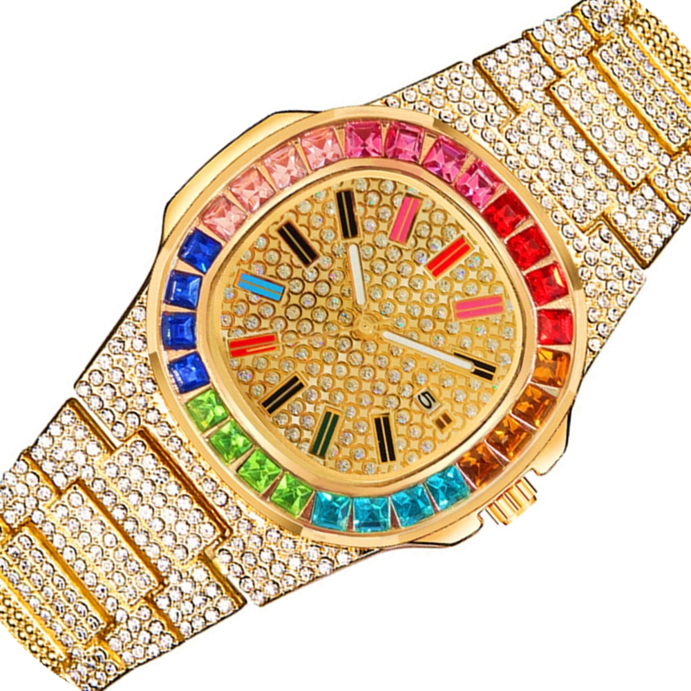 Colorful Diamond Watch Top Brand for Men Women Luxury Iced Out Gold Sliver Mens Watch Calendar Wristwatch Relogio Masculino Gift watch for women top brand luxury iced out watch diamond watch for men iced out cuban link chain necklace wristwatch man hiphop