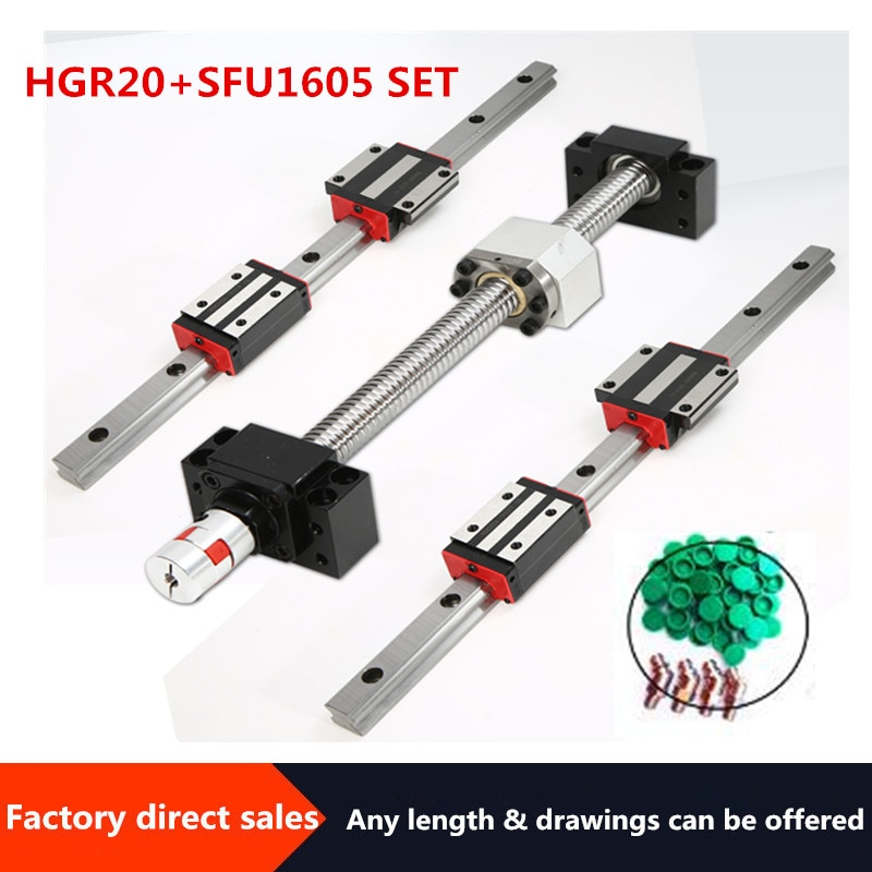 HGR20 Square Linear guides rail 2set HGR20+guide block HGH20CA+SFU1605 ball screw 5mm lead screw+ BK12BF12cnc linear actuator