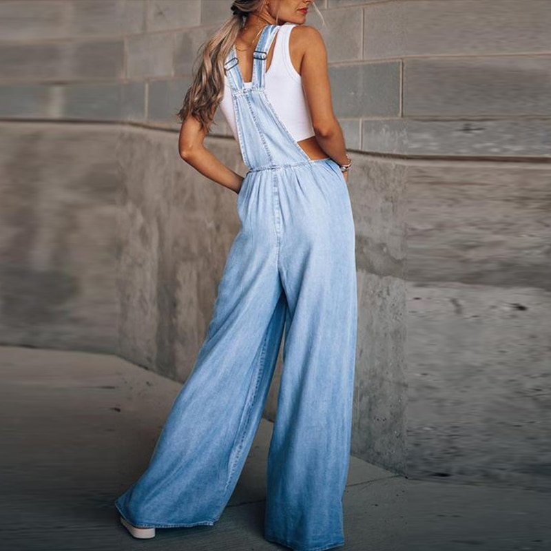 Fashion Women Casual Loose Solid Pocket Denim Jumpsuit Sleeveless Wide Leg Overalls Playsuit Lady Strappy Jean Romper Streetwear enlarge