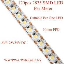 LED 2835 diody na wstążce, 5m rolka/dużo, 120 sztuk 2835 led smd na metr, DC 12V lub 24V, nadaje się do krojenia na jeden led, brak odpadów.