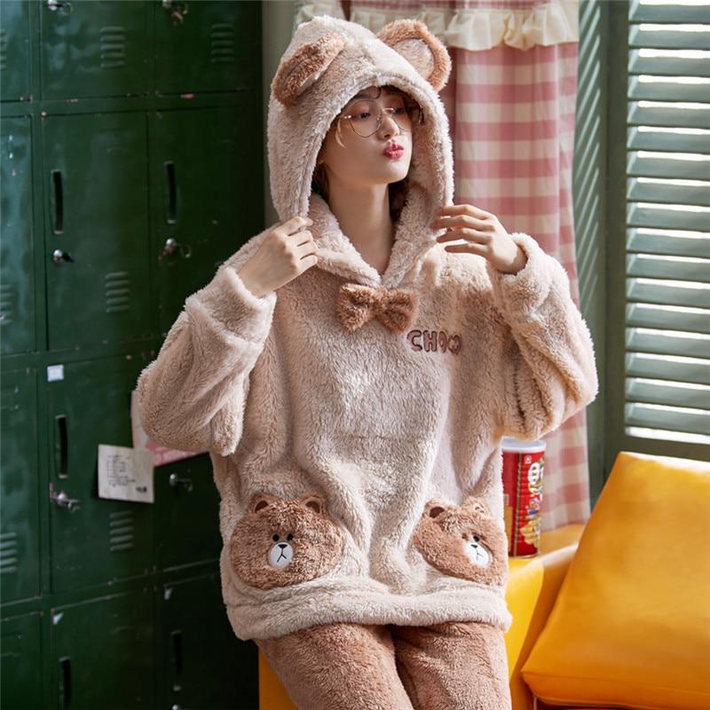 Women's Winter Flannel Pajama Set Fleece Pyjamas Sleepwear Home Clothing Thick Warm Coral Velvet Homewear Suit Christmas Clothes