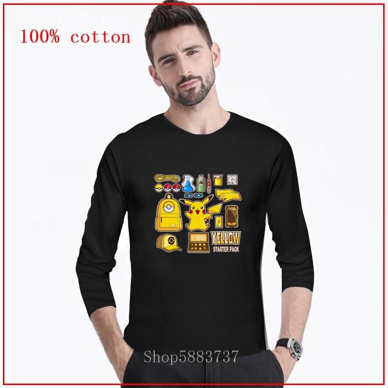 2020 Anime Nintendo Pikachu Pokeball Pokemon Video Game Yellow starter pack Male manga t-shirt boy's  fashion t-shirt