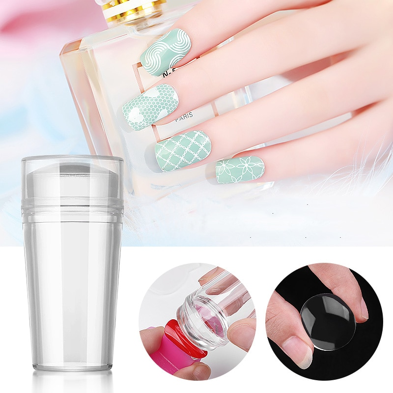 Plantillas de Arte de uñas de alta calidad de gelatina transparente de silicona arte de uñas rascador con tapa transparente herramienta de estampado de uñas