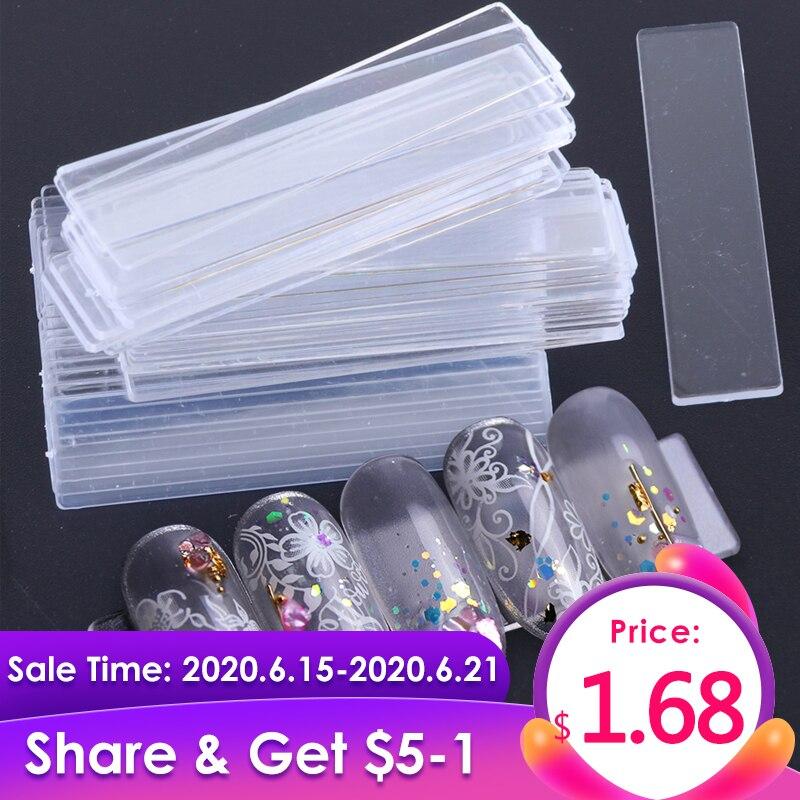 40 pièces faux ongles conseils Nail Art présentoir Transparent pratique acrylique Gel vernis support bande manucure montrant des outils JI151