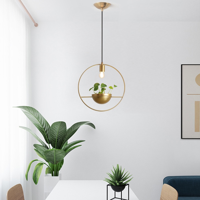 moderno anel de ouro pingente luzes planta diy skygarden led pendurado lampada sala
