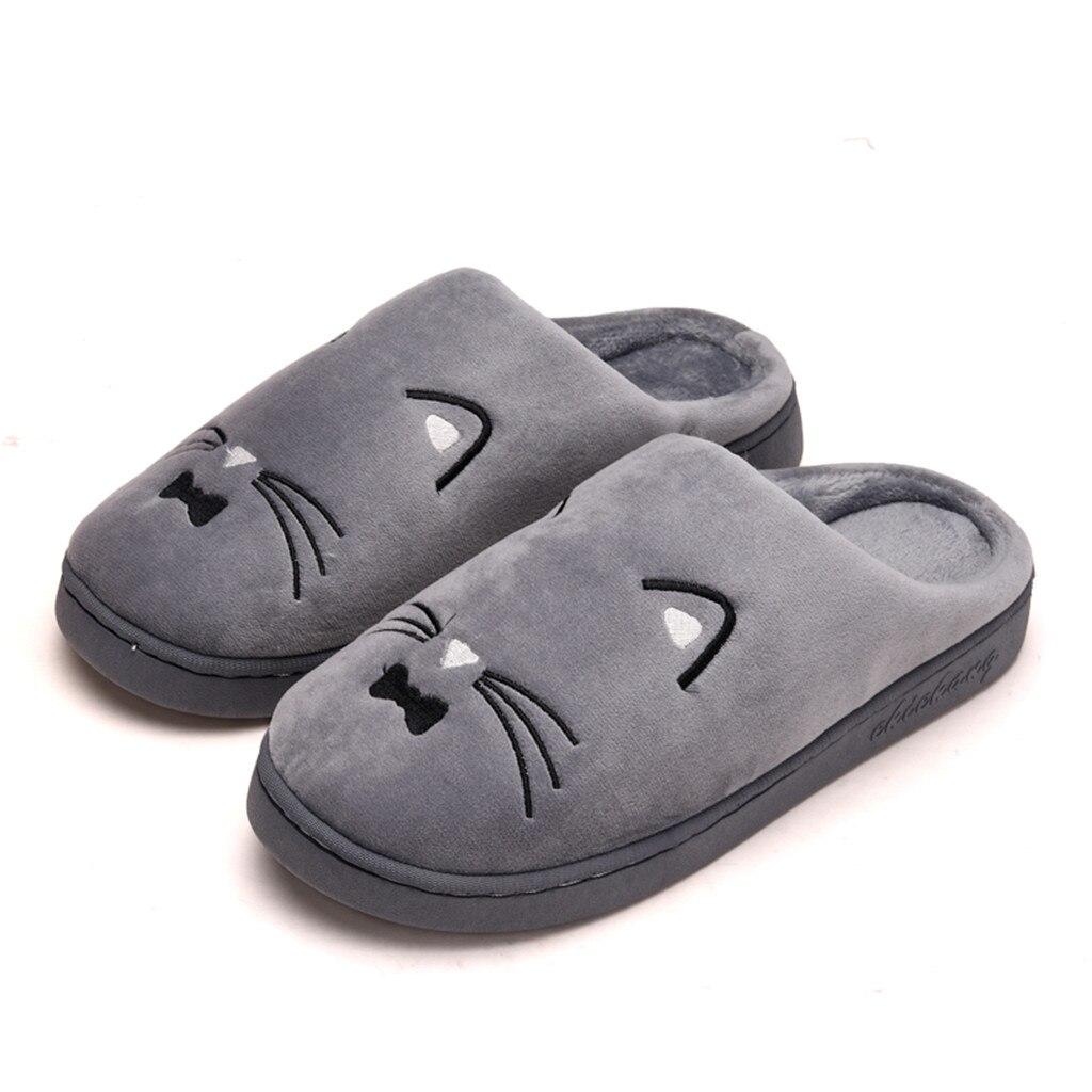 De invierno para hombre, Zapatillas de casa de gato de dibujos animados zapatos antideslizantes suave de invierno cálido Zapatillas de casa interior parejas piso caída de zapatos envío