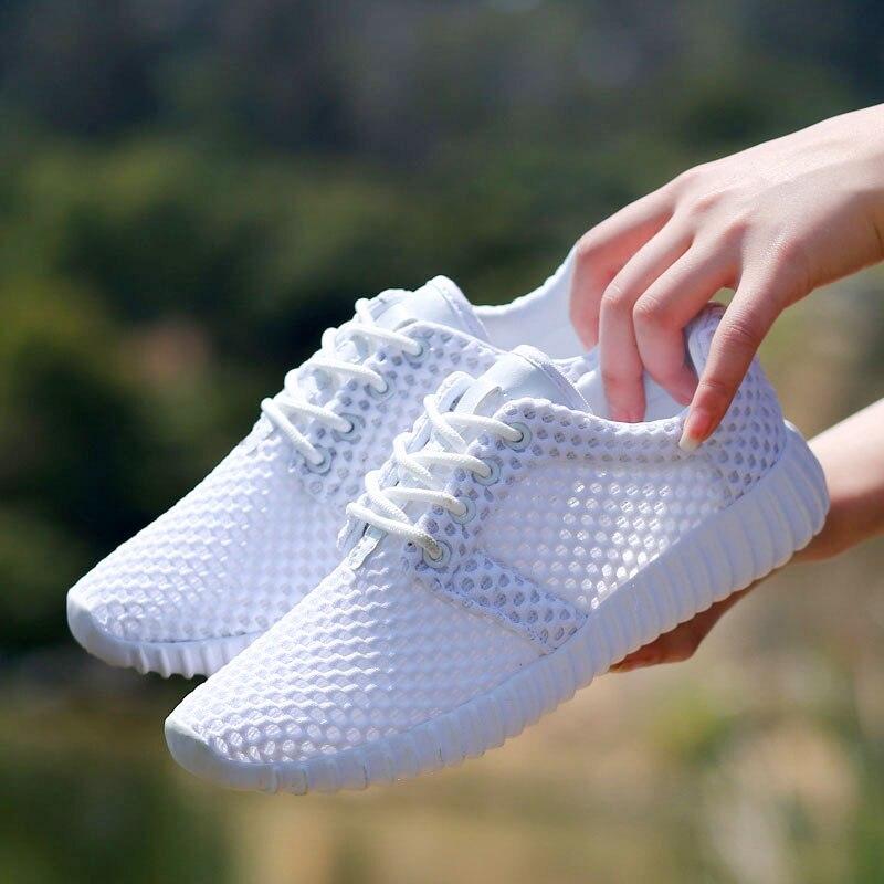 Alta qualidade sapatos femininos malha respirável oco rede macio leve sapatos casuais esporte moda sapato