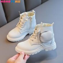 Autumn Winter Plus Velvet Warm Kids Martin Boots for Girls Boys Fashion Leather Boots Soft Bottom No
