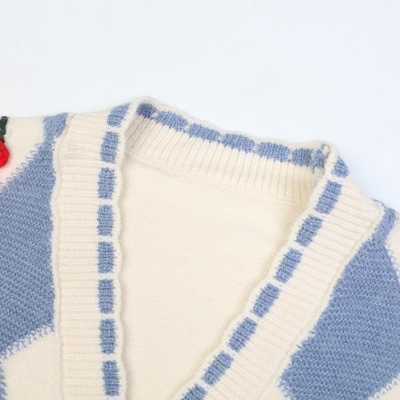 SHUCHAN Knit Sweater Women Knitted Cardigan  Appliques V-Neck Blend Sweet Geometric Single Breasted Cherry Thick Winter enlarge