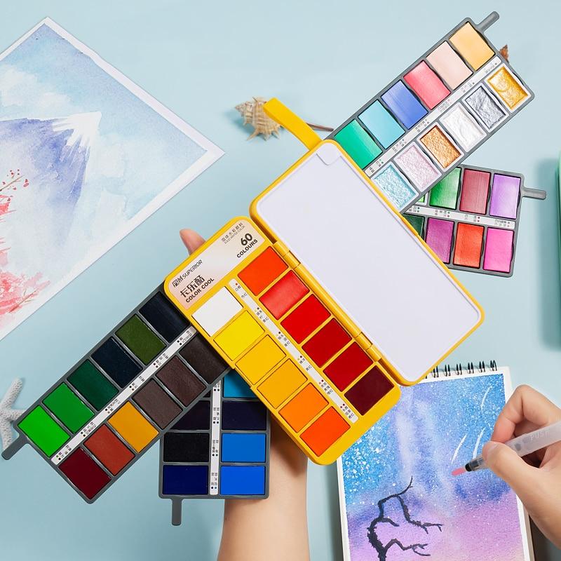 High-Level 36/48/60 Color Fan-Shaped Solid Watercolor Paint Set Portable Painting Watercolor Set Pearlescent Color Macaron Color