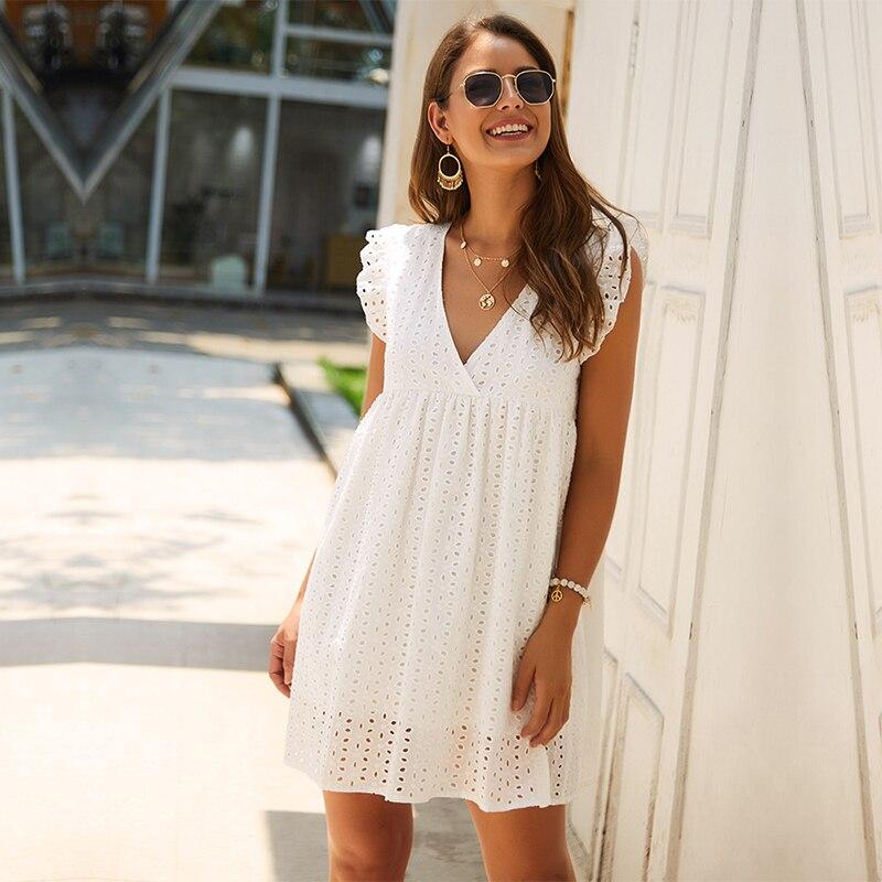 Solide Aushöhlen Kurze Kleid Frauen Neue Sexy V-ausschnitt Schmetterling Sleeve Aushöhlen Spitze Kleid Beiläufige Lose Sommer Frauen Kleid