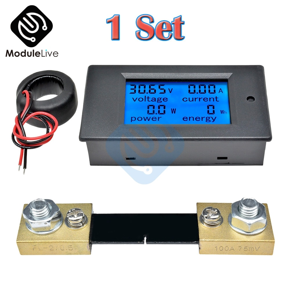 100a digital lcd ac voltímetro amperímetro fonte de alimentação tensão de energia exibição de corrente medidor de energia fechado ct ac 80v-260v + 75mv shunt
