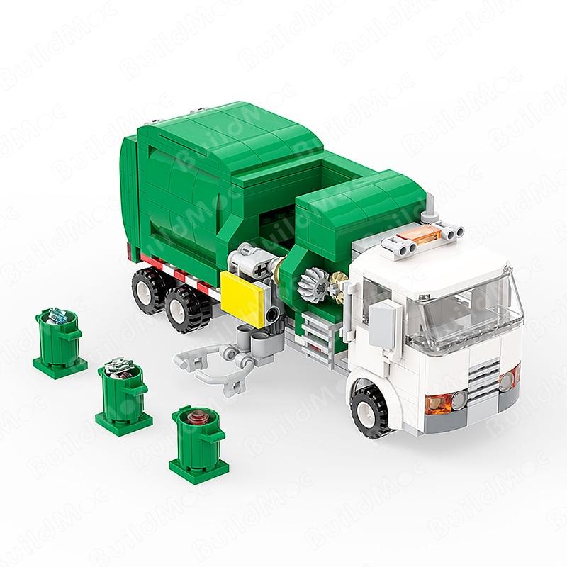 BuildMoc high-tech Green White Car Garbage Truck City Cleaner Children Diy Toy Building Blocks birthday Gift Model Set