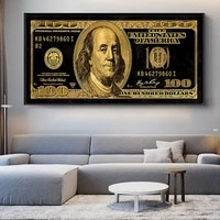 creative money 100 dollars modern art canvas poster and prints wall art picture wall decor painting for liviung room