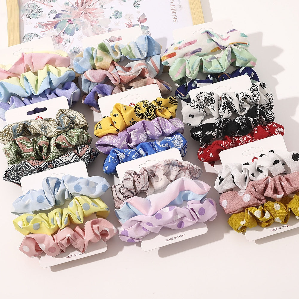 New Year 2021 Spring Flower Hair Scrunchies Set 3 Pieces Pack Cotton Hair Ties Cute Rubber Bands Scrunches Elastic Hair Bands
