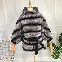 fur jacket women coat 100 real rabbit fur real fur stripe coat fur hat to keep warm batwing sleeve with sashes ashionable joker