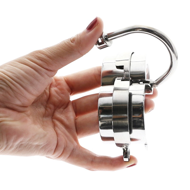 BDSM المعادن الكرة نقالة قفل حلقة الديك الوزن كيس الصفن قلادة خاتم الديك القضيب ضبط النفس الديك نقالة الوثن خواتم الديك