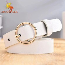 Dressing ladies leather professional dress belt new round pin buckle leather wild jeans with narrow