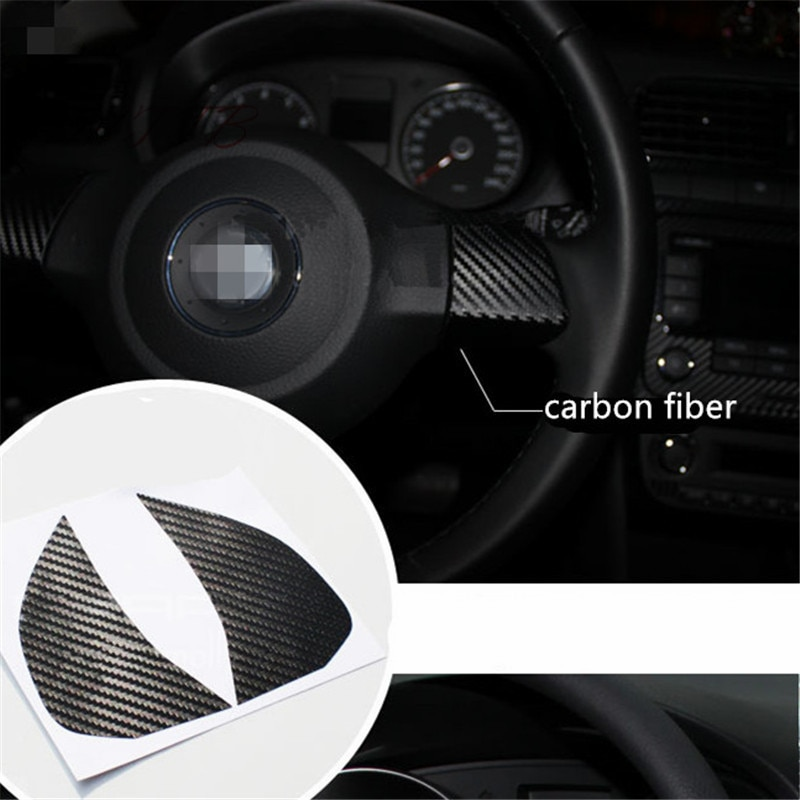 Volante decoração de fibra carbono 3d adesivo do carro para volkswagen golf 6 polo bora touran tiguan estilo do carro